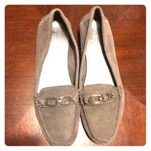 Gray suede coach loafers